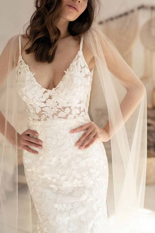 Boho wedding dress lace wedding dress low back open back spaghetti straps 1