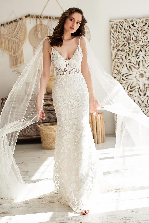 Boho wedding dress lace wedding dress low back open back spaghetti straps 12