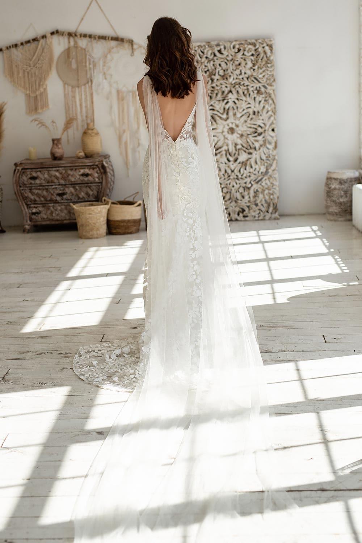 Boho wedding dress lace wedding dress low back open back spaghetti straps 13