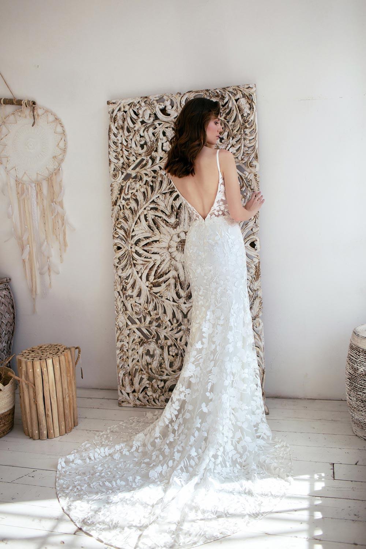 Boho wedding dress lace wedding dress low back open back spaghetti straps 2