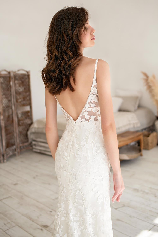 Boho wedding dress lace wedding dress low back open back spaghetti straps 4