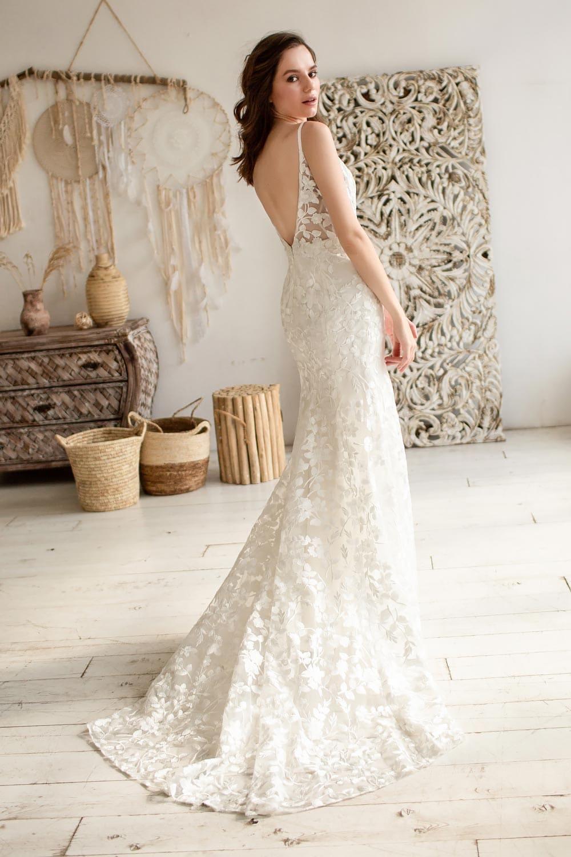 Boho wedding dress lace wedding dress low back open back spaghetti straps 5