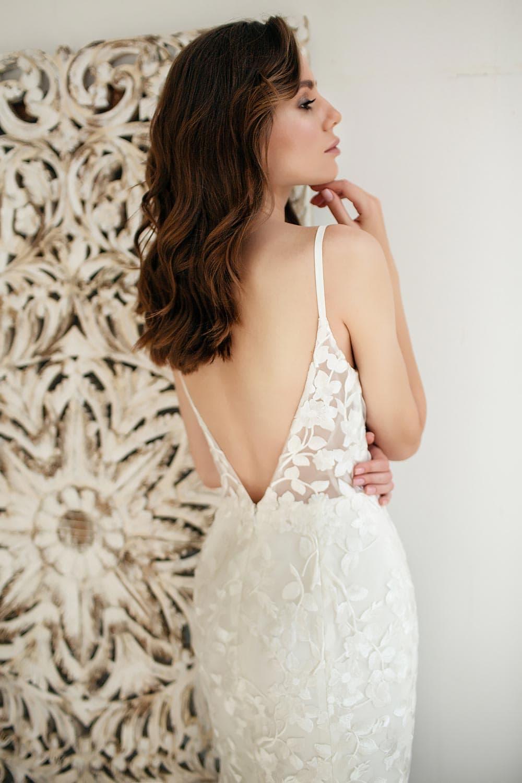 Boho wedding dress lace wedding dress low back open back spaghetti straps 6