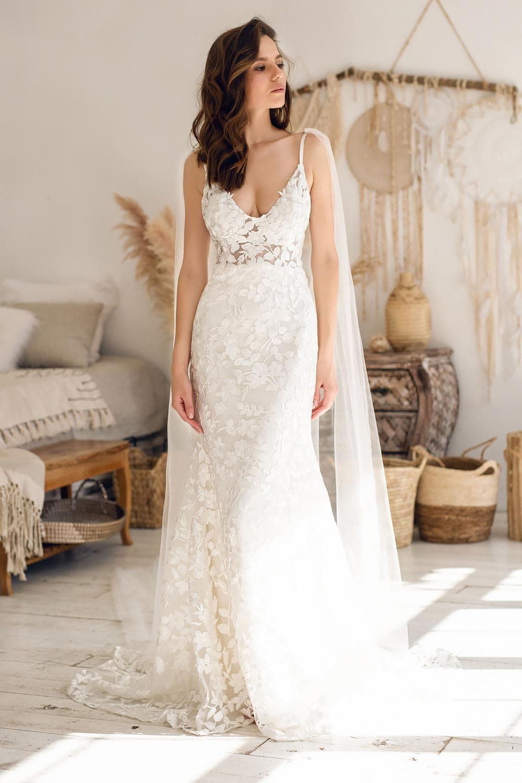 Boho wedding dress lace wedding dress low back open back spaghetti straps 8