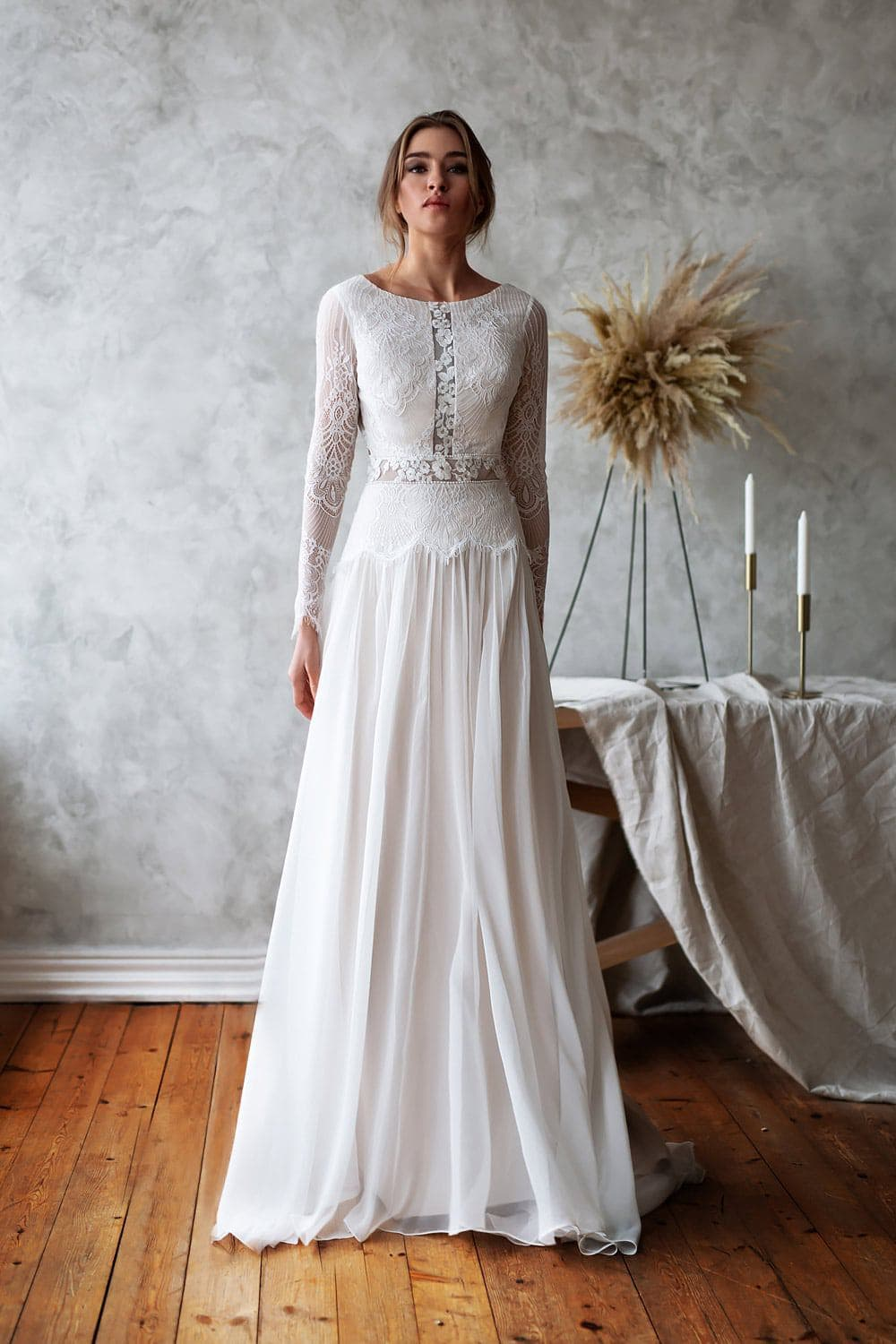 Vintage Lace Wedding Dresses With Sleeves   Bridal Shop London