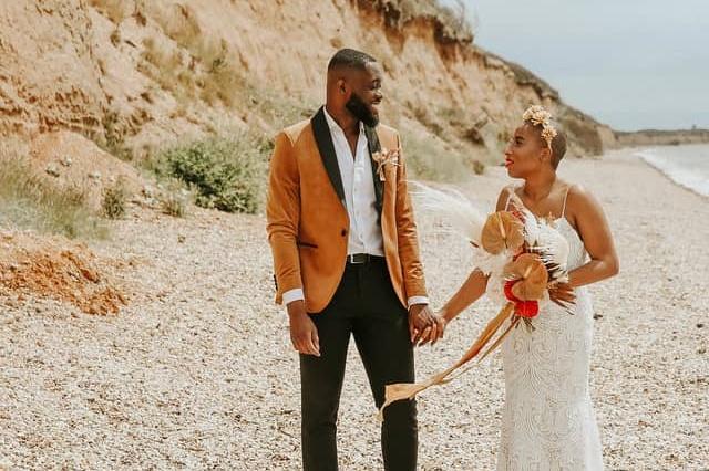 boho beach bridal photo shoot